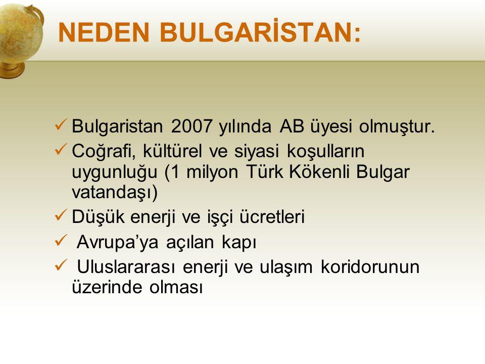 NEDEN BULGARİSTAN: Bulgaristan 2007 yılında AB üyesi olmuştur. Coğrafi, kültürel ve siyasi koşulların uygunluğu (1 milyon Türk Kökenli Bulgar vatandaş