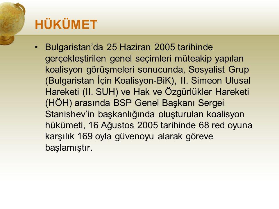 HÜKÜMET Bulgaristan'da 25 Haziran 2005 tarihinde gerçekleştirilen genel seçimleri müteakip yapılan koalisyon görüşmeleri sonucunda, Sosyalist Grup (Bu