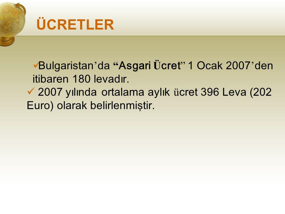 """ÜCRETLER Bulgaristan ' da """" Asgari Ü cret """" 1 Ocak 2007 ' den itibaren 180 levadır. 2007 yılında ortalama aylık ü cret 396 Leva (202 Euro) olarak beli"""