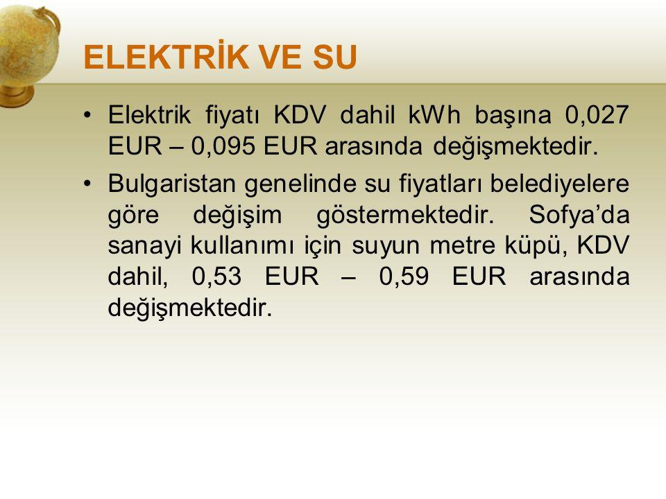 ELEKTRİK VE SU Elektrik fiyatı KDV dahil kWh başına 0,027 EUR – 0,095 EUR arasında değişmektedir. Bulgaristan genelinde su fiyatları belediyelere göre