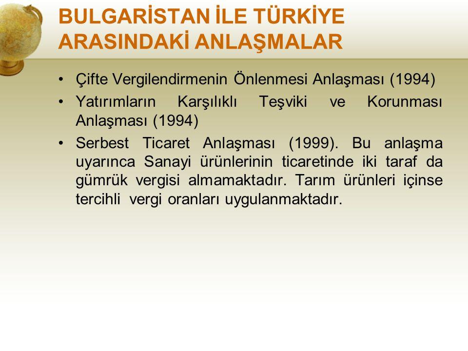 BULGARİSTAN İLE TÜRKİYE ARASINDAKİ ANLAŞMALAR Çifte Vergilendirmenin Önlenmesi Anlaşması (1994) Yatırımların Karşılıklı Teşviki ve Korunması Anlaşması