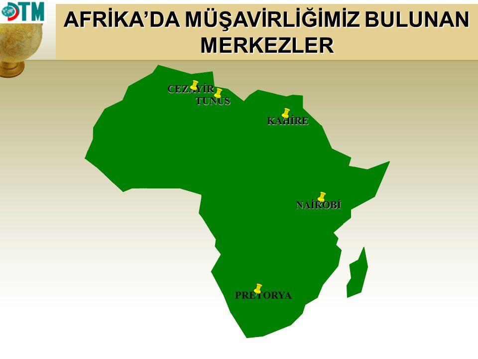 KAHİRE TUNUS CEZAYİR PRETORYA AFRİKA'DA MÜŞAVİRLİĞİMİZ BULUNAN MERKEZLER NAİROBİ