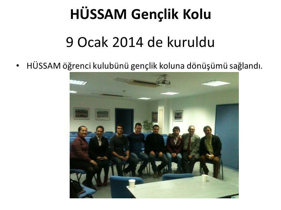 HÜSSAM Gençlik Kolu 9 Ocak 2014 de kuruldu HÜSSAM öğrenci kulubünü gençlik koluna dönüşümü sağlandı.