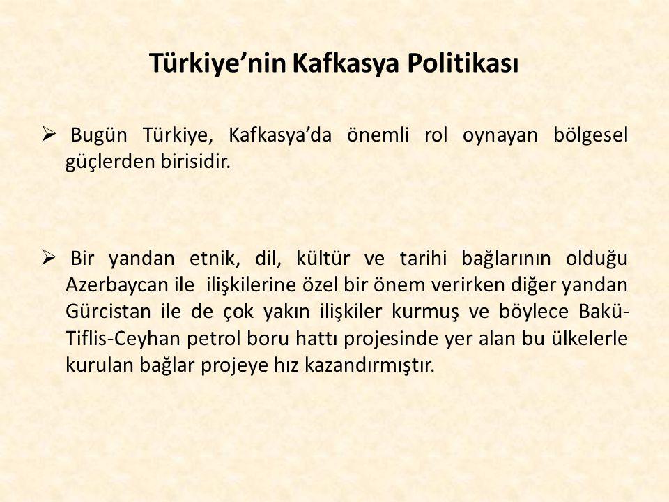 Türkiye'nin Kafkasya Politikası  Bugün Türkiye, Kafkasya'da önemli rol oynayan bölgesel güçlerden birisidir.  Bir yandan etnik, dil, kültür ve tarih