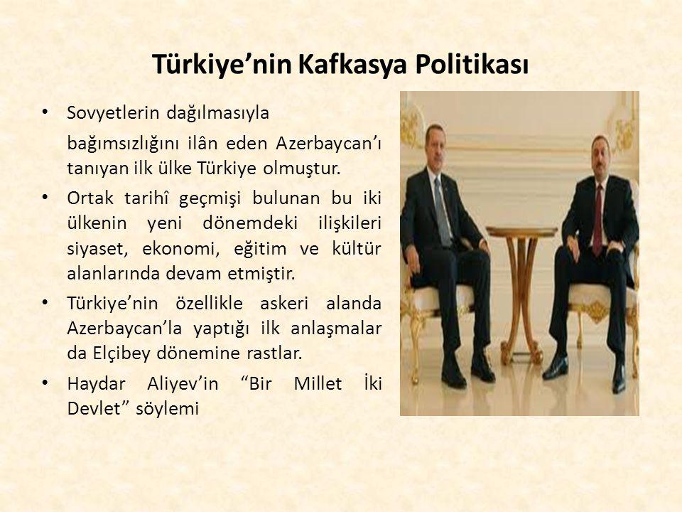 Türkiye'nin Kafkasya Politikası Sovyetlerin dağılmasıyla bağımsızlığını ilân eden Azerbaycan'ı tanıyan ilk ülke Türkiye olmuştur. Ortak tarihî geçmişi