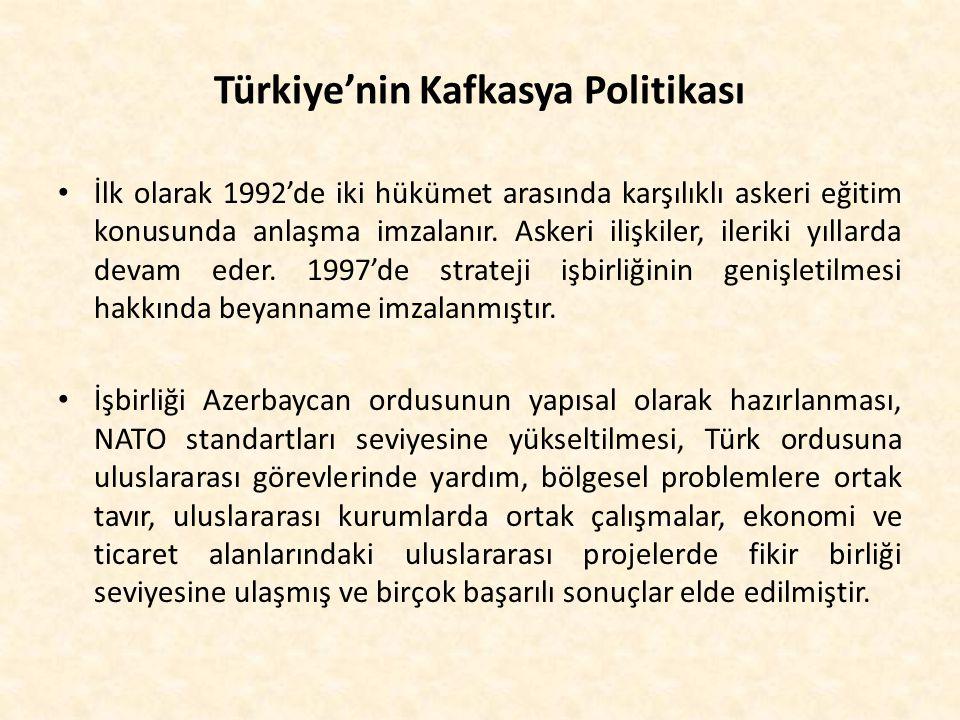 Türkiye'nin Kafkasya Politikası İlk olarak 1992'de iki hükümet arasında karşılıklı askeri eğitim konusunda anlaşma imzalanır. Askeri ilişkiler, ilerik