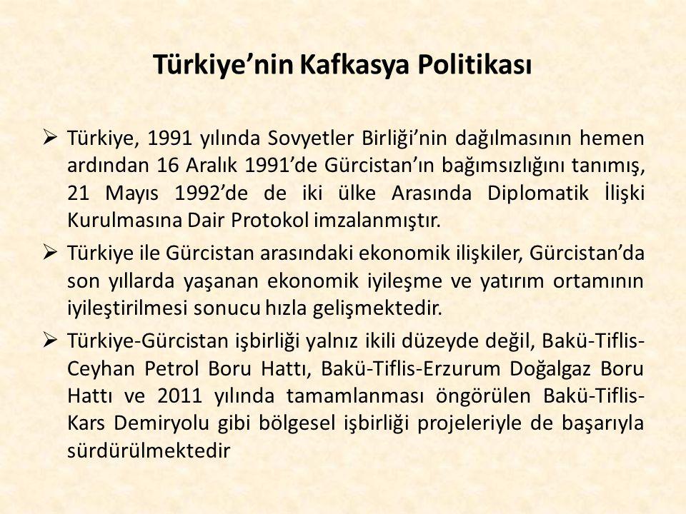 Türkiye'nin Kafkasya Politikası  Türkiye, 1991 yılında Sovyetler Birliği'nin dağılmasının hemen ardından 16 Aralık 1991'de Gürcistan'ın bağımsızlığın