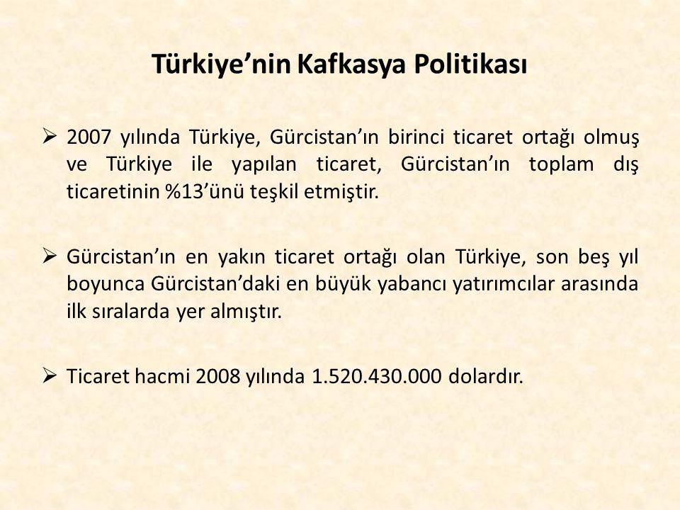 Türkiye'nin Kafkasya Politikası  2007 yılında Türkiye, Gürcistan'ın birinci ticaret ortağı olmuş ve Türkiye ile yapılan ticaret, Gürcistan'ın toplam