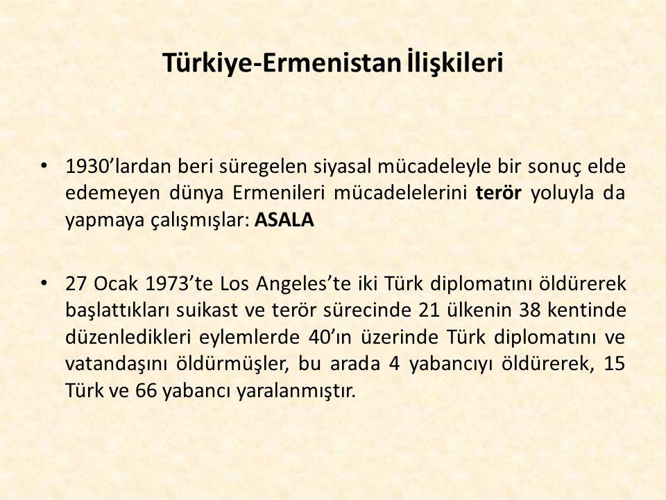 Türkiye-Ermenistan İlişkileri 1930'lardan beri süregelen siyasal mücadeleyle bir sonuç elde edemeyen dünya Ermenileri mücadelelerini terör yoluyla da