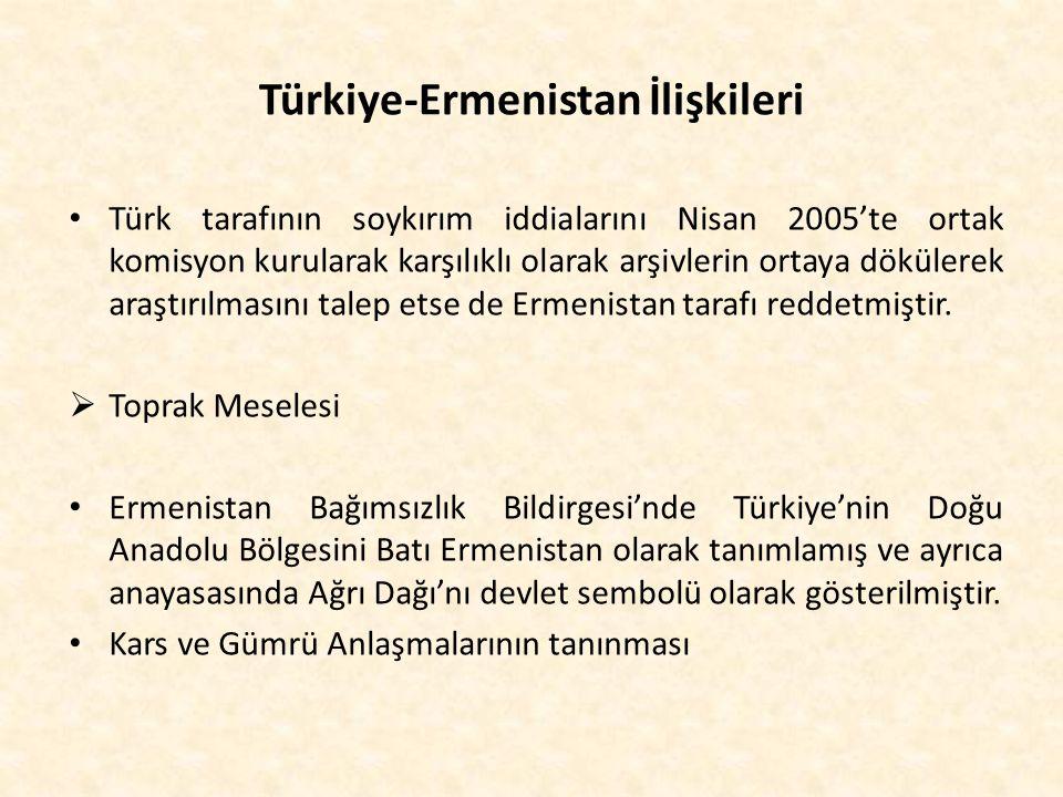 Türkiye-Ermenistan İlişkileri Türk tarafının soykırım iddialarını Nisan 2005'te ortak komisyon kurularak karşılıklı olarak arşivlerin ortaya dökülerek
