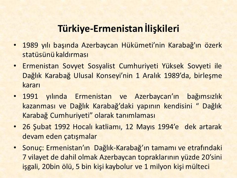 Türkiye-Ermenistan İlişkileri 1989 yılı başında Azerbaycan Hükümeti'nin Karabağ'ın özerk statüsünü kaldırması Ermenistan Sovyet Sosyalist Cumhuriyeti