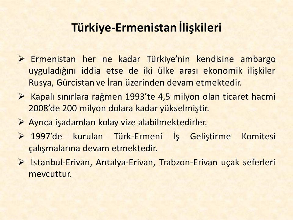 Türkiye-Ermenistan İlişkileri  Ermenistan her ne kadar Türkiye'nin kendisine ambargo uyguladığını iddia etse de iki ülke arası ekonomik ilişkiler Rus
