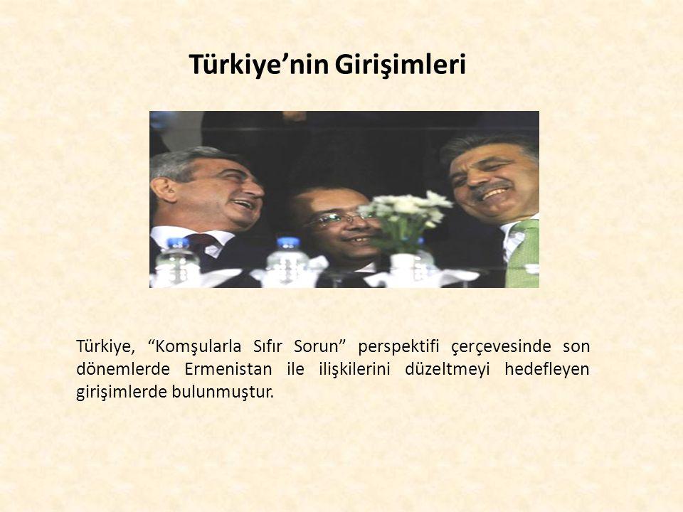 """Türkiye'nin Girişimleri Türkiye, """"Komşularla Sıfır Sorun"""" perspektifi çerçevesinde son dönemlerde Ermenistan ile ilişkilerini düzeltmeyi hedefleyen gi"""