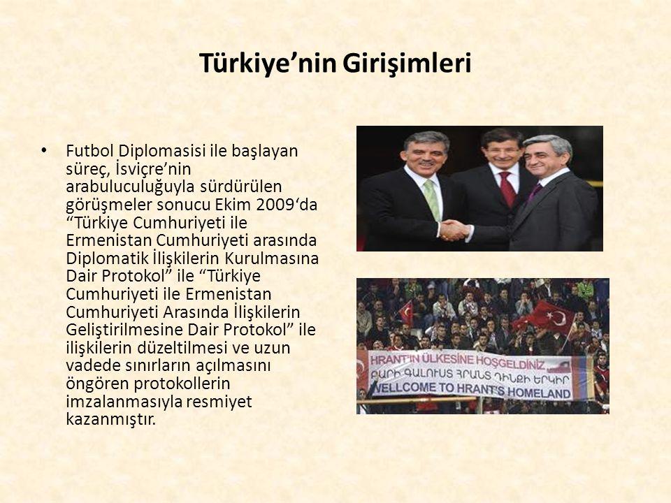 """Türkiye'nin Girişimleri Futbol Diplomasisi ile başlayan süreç, İsviçre'nin arabuluculuğuyla sürdürülen görüşmeler sonucu Ekim 2009'da """"Türkiye Cumhuri"""