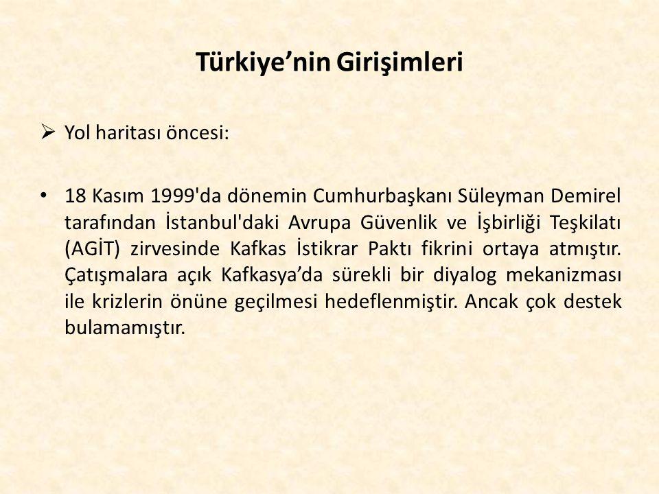 Türkiye'nin Girişimleri  Yol haritası öncesi: 18 Kasım 1999'da dönemin Cumhurbaşkanı Süleyman Demirel tarafından İstanbul'daki Avrupa Güvenlik ve İşb
