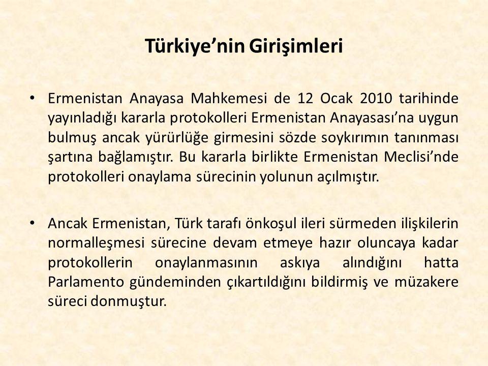 Türkiye'nin Girişimleri Ermenistan Anayasa Mahkemesi de 12 Ocak 2010 tarihinde yayınladığı kararla protokolleri Ermenistan Anayasası'na uygun bulmuş a