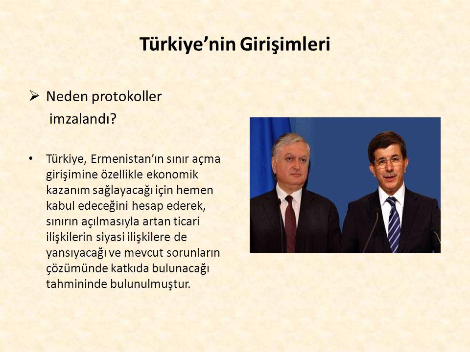 Türkiye'nin Girişimleri  Neden protokoller imzalandı? Türkiye, Ermenistan'ın sınır açma girişimine özellikle ekonomik kazanım sağlayacağı için hemen