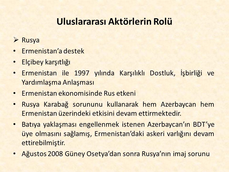 Uluslararası Aktörlerin Rolü  Rusya Ermenistan'a destek Elçibey karşıtlığı Ermenistan ile 1997 yılında Karşılıklı Dostluk, İşbirliği ve Yardımlaşma A