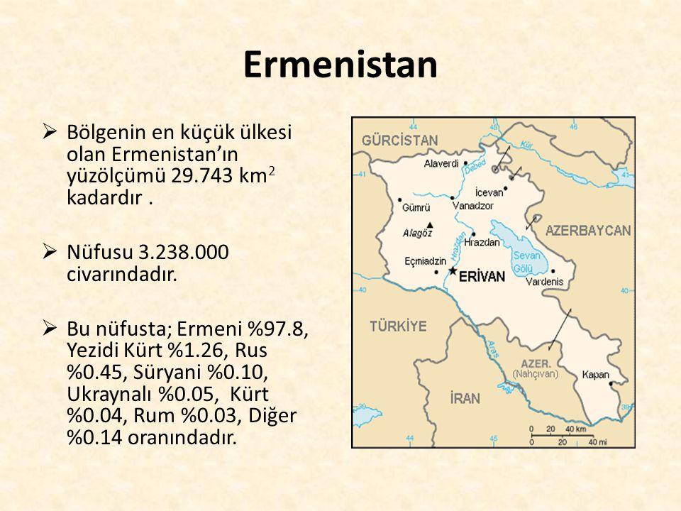 Ermenistan  Bölgenin en küçük ülkesi olan Ermenistan'ın yüzölçümü 29.743 km 2 kadardır.  Nüfusu 3.238.000 civarındadır.  Bu nüfusta; Ermeni %97.8,