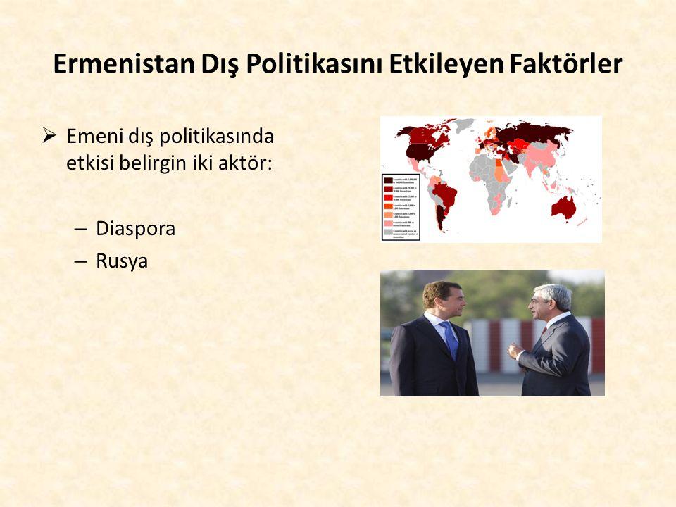 Ermenistan Dış Politikasını Etkileyen Faktörler  Emeni dış politikasında etkisi belirgin iki aktör: – Diaspora – Rusya
