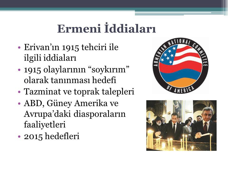 """Erivan'ın 1915 tehciri ile ilgili iddiaları 1915 olaylarının """"soykırım"""" olarak tanınması hedefi Tazminat ve toprak talepleri ABD, Güney Amerika ve Avr"""