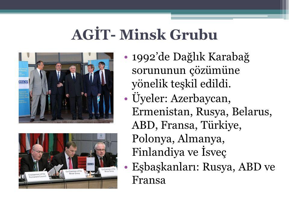 AGİT- Minsk Grubu 1992'de Dağlık Karabağ sorununun çözümüne yönelik teşkil edildi. Üyeler: Azerbaycan, Ermenistan, Rusya, Belarus, ABD, Fransa, Türkiy
