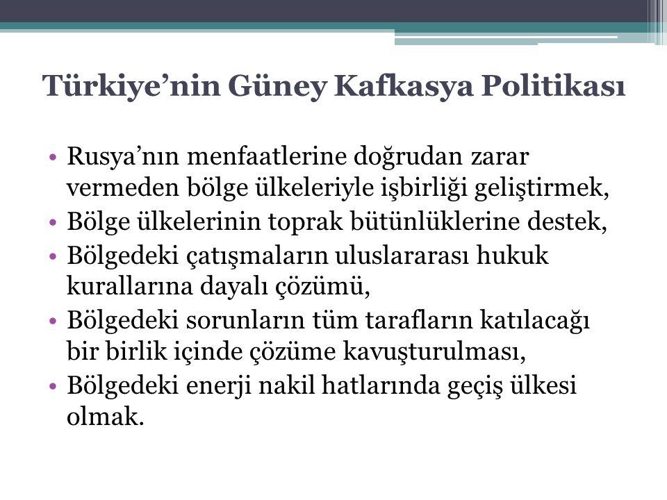 Türkiye'nin Güney Kafkasya Politikası Rusya'nın menfaatlerine doğrudan zarar vermeden bölge ülkeleriyle işbirliği geliştirmek, Bölge ülkelerinin topra