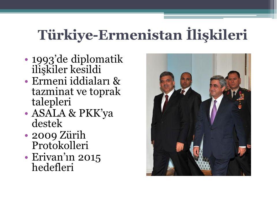Türkiye-Ermenistan İlişkileri 1993'de diplomatik ilişkiler kesildi Ermeni iddiaları & tazminat ve toprak talepleri ASALA & PKK'ya destek 2009 Zürih Pr