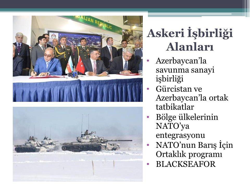 Askeri İşbirliği Alanları Azerbaycan'la savunma sanayi işbirliği Gürcistan ve Azerbaycan'la ortak tatbikatlar Bölge ülkelerinin NATO'ya entegrasyonu N