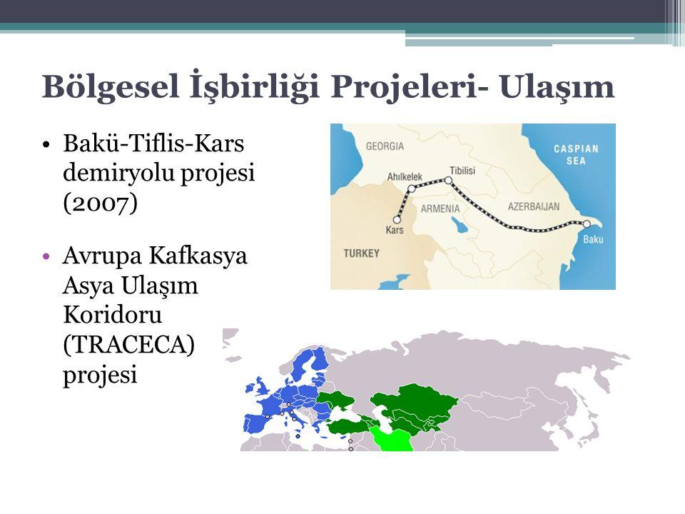Bölgesel İşbirliği Projeleri- Ulaşım Bakü-Tiflis-Kars demiryolu projesi (2007) Avrupa Kafkasya Asya Ulaşım Koridoru (TRACECA) projesi