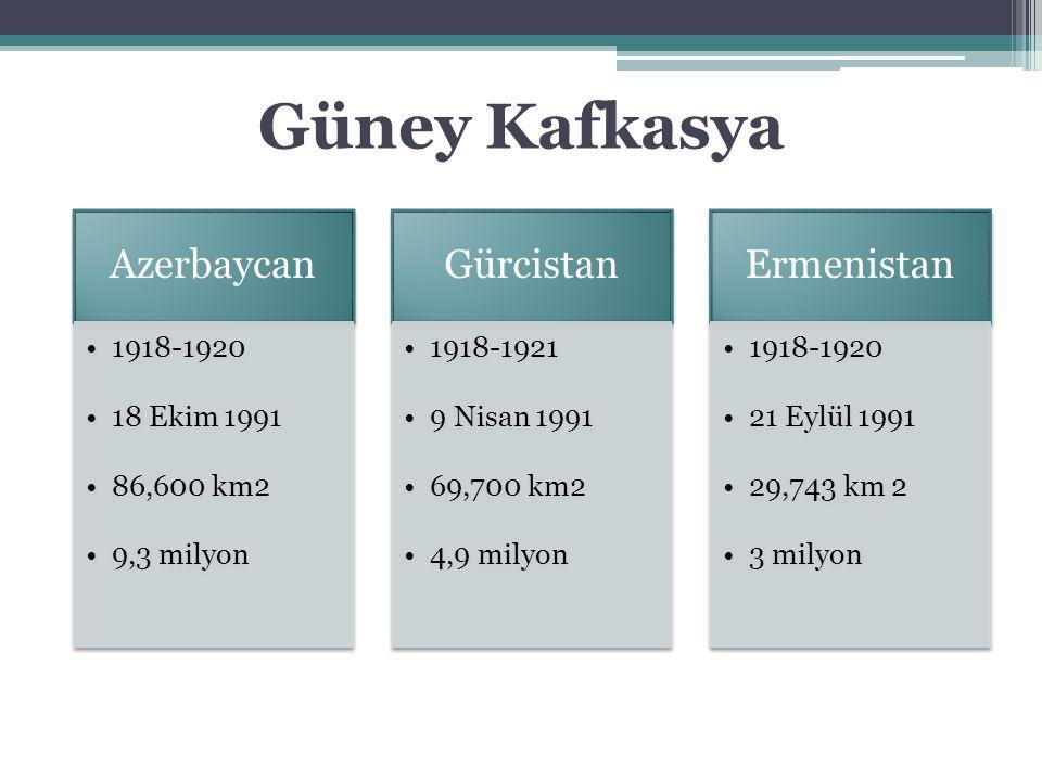 Azerbaycan 1918-1920 18 Ekim 1991 86,600 km2 9,3 milyon Gürcistan 1918-1921 9 Nisan 1991 69,700 km2 4,9 milyon Ermenistan 1918-1920 21 Eylül 1991 29,7