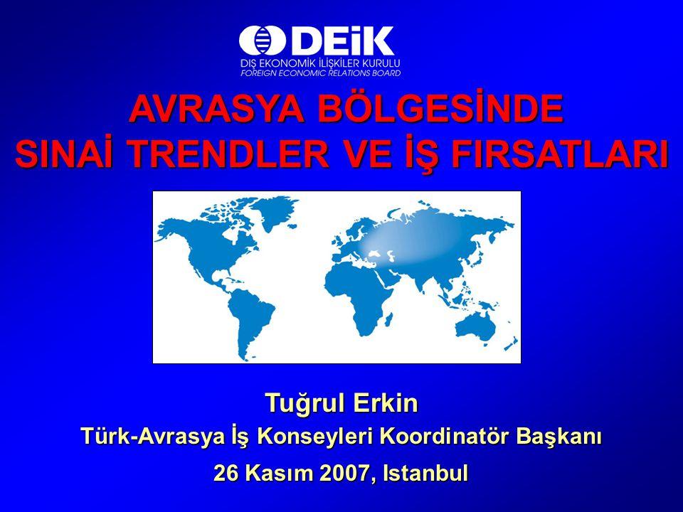 AVRASYA BÖLGESİNDE AVRASYA BÖLGESİNDE SINAİ TRENDLER VE İŞ FIRSATLARI Tuğrul Erkin Türk-Avrasya İş Konseyleri Koordinatör Başkanı 26 Kasım 2007, Istan