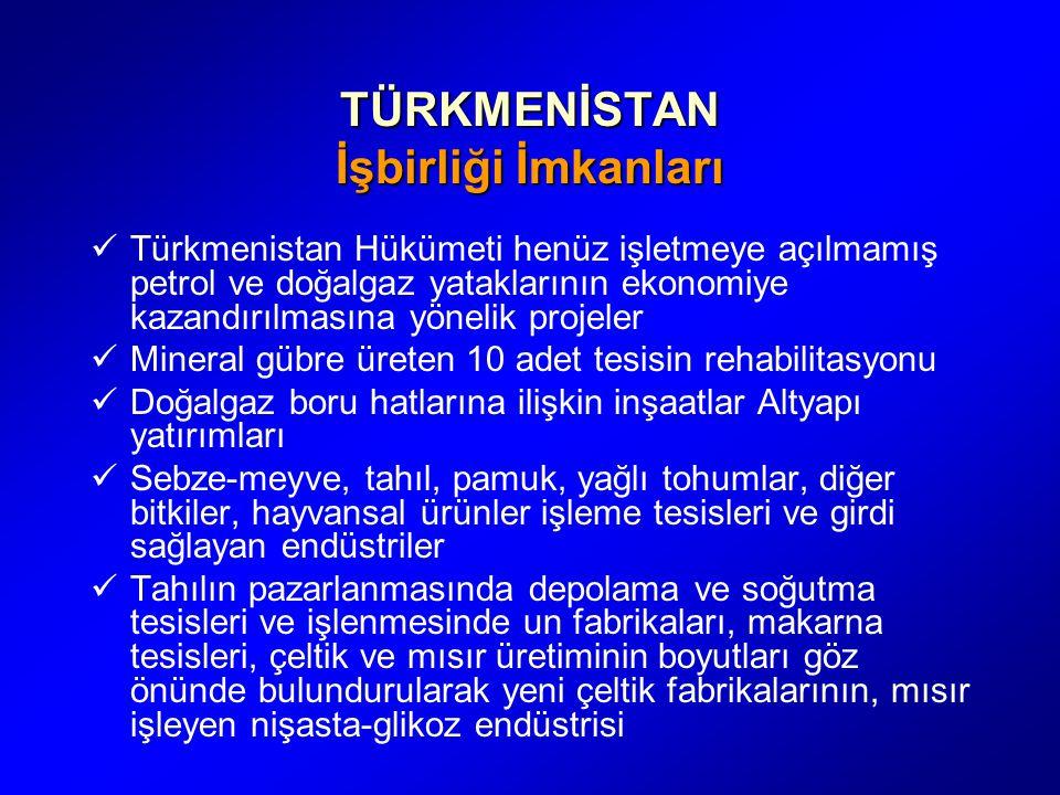 TÜRKMENİSTAN İşbirliği İmkanları Türkmenistan Hükümeti henüz işletmeye açılmamış petrol ve doğalgaz yataklarının ekonomiye kazandırılmasına yönelik pr