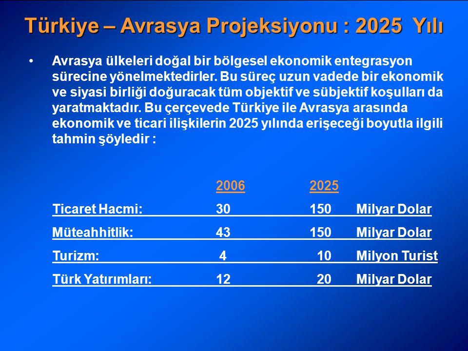 Türkiye – Avrasya Projeksiyonu : 2025 Yılı Avrasya ülkeleri doğal bir bölgesel ekonomik entegrasyon sürecine yönelmektedirler. Bu süreç uzun vadede bi