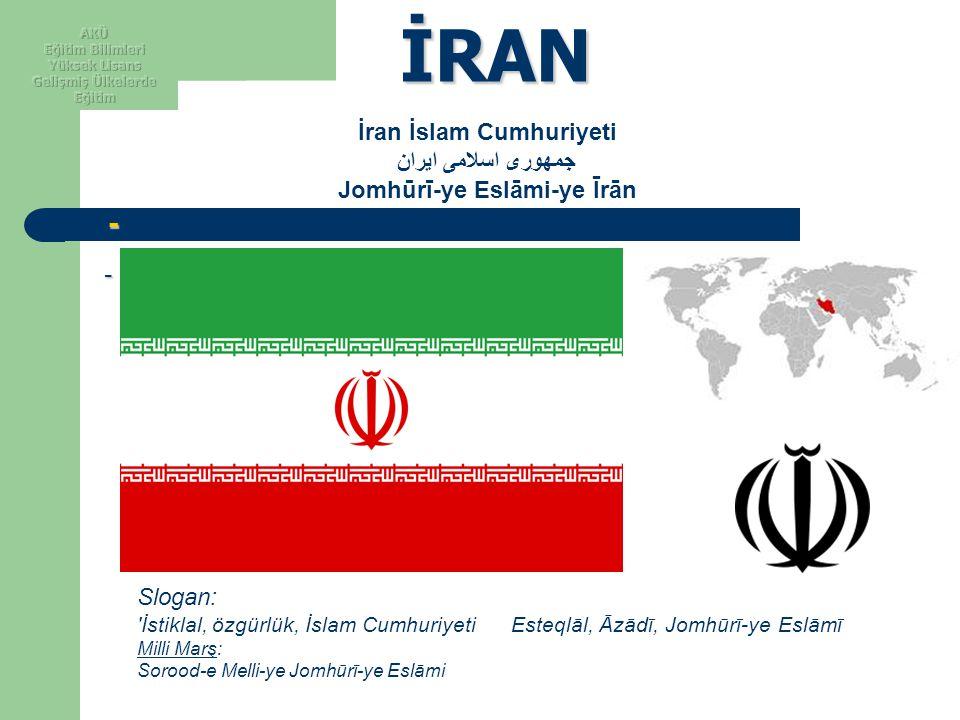 İRAN - - -- -- İran İslam Cumhuriyeti جمهوری اسلامی ایران Jomhūrī-ye Eslāmi-ye Īrān Slogan: 'İstiklal, özgürlük, İslam Cumhuriyeti Esteqlāl, Āzādī, Jo