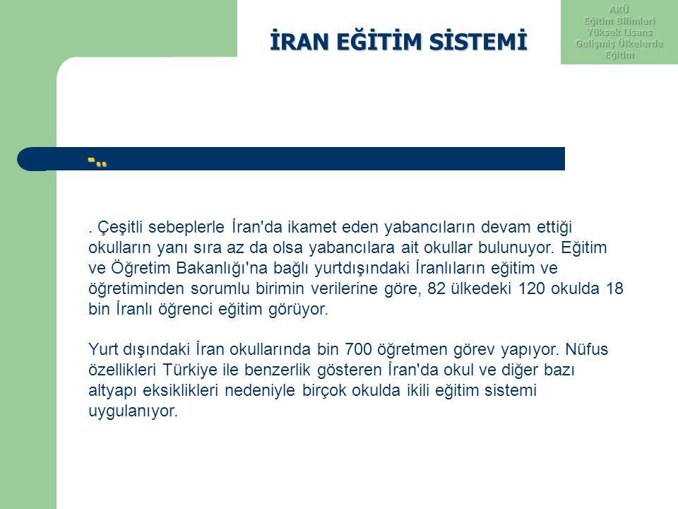 İRAN EĞİTİM SİSTEMİ İRAN EĞİTİM SİSTEMİ -.. -... Çeşitli sebeplerle İran'da ikamet eden yabancıların devam ettiği okulların yanı sıra az da olsa yaban