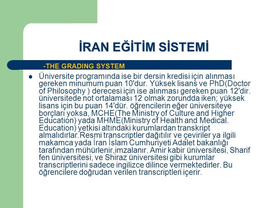 İRAN EĞİTİM SİSTEMİ Üniversite programında ise bir dersin kredisi için alınması gereken minumum puan 10'dur. Yüksek lisans ve PhD(Doctor of Philosophy