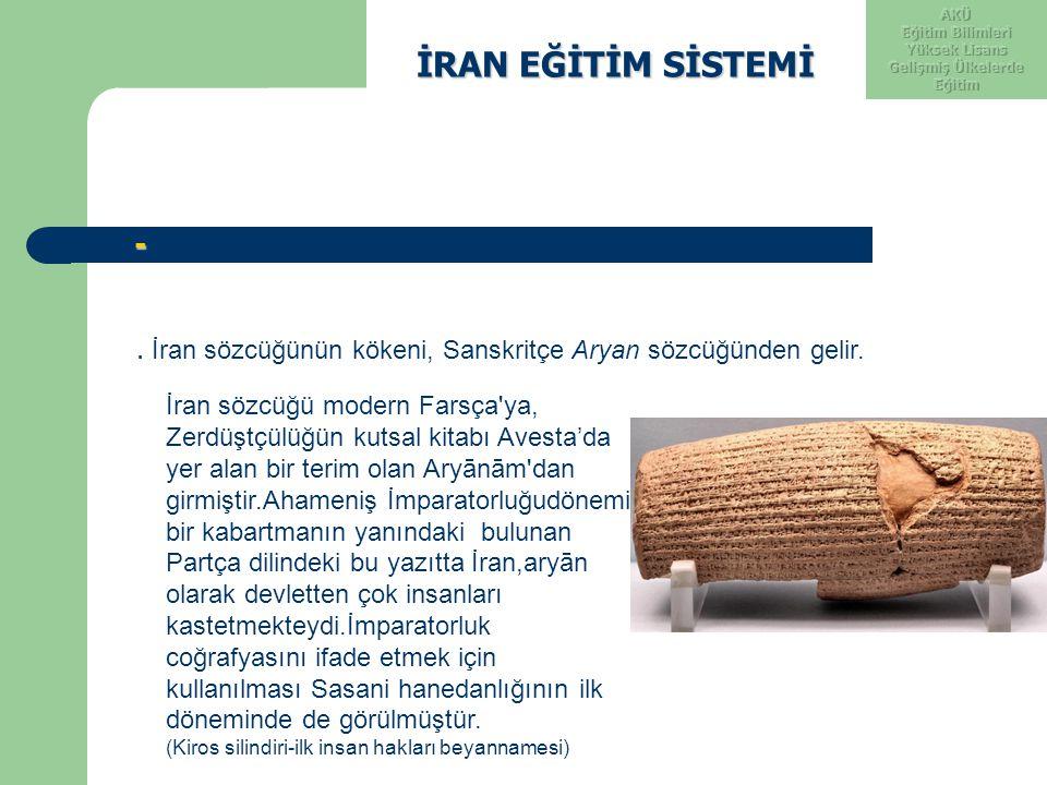 İRAN EĞİTİM SİSTEMİ İRAN EĞİTİM SİSTEMİ -. İran sözcüğünün kökeni, Sanskritçe Aryan sözcüğünden gelir. İran sözcüğü modern Farsça'ya, Zerdüştçülüğün k