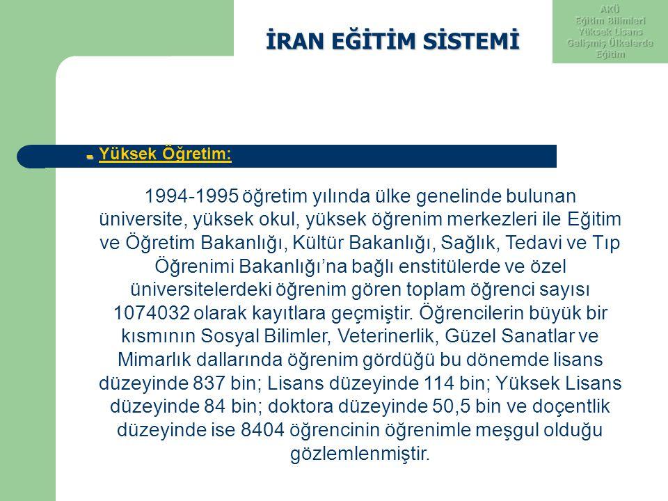 İRAN EĞİTİM SİSTEMİ İRAN EĞİTİM SİSTEMİ - Yüksek Öğretim: 1994-1995 öğretim yılında ülke genelinde bulunan üniversite, yüksek okul, yüksek öğrenim mer