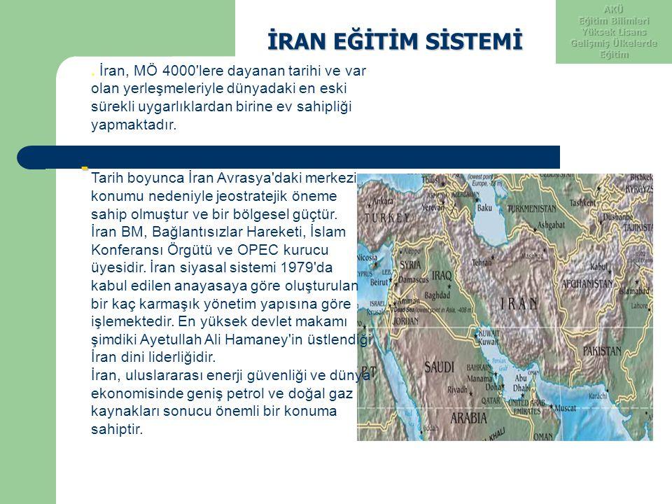 İRAN EĞİTİM SİSTEMİ İRAN EĞİTİM SİSTEMİ -. İran, MÖ 4000'lere dayanan tarihi ve var olan yerleşmeleriyle dünyadaki en eski sürekli uygarlıklardan biri