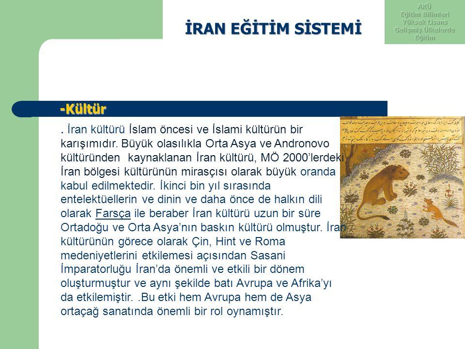 İRAN EĞİTİM SİSTEMİ İRAN EĞİTİM SİSTEMİ -Kültür -Kültür. İran kültürü İslam öncesi ve İslami kültürün bir karışımıdır. Büyük olasılıkla Orta Asya ve A