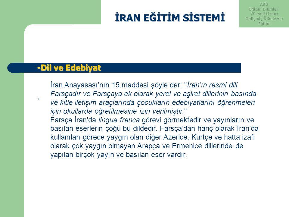 İRAN EĞİTİM SİSTEMİ İRAN EĞİTİM SİSTEMİ -Dil ve Edebiyat -Dil ve Edebiyat. İran Anayasası'nın 15.maddesi şöyle der: