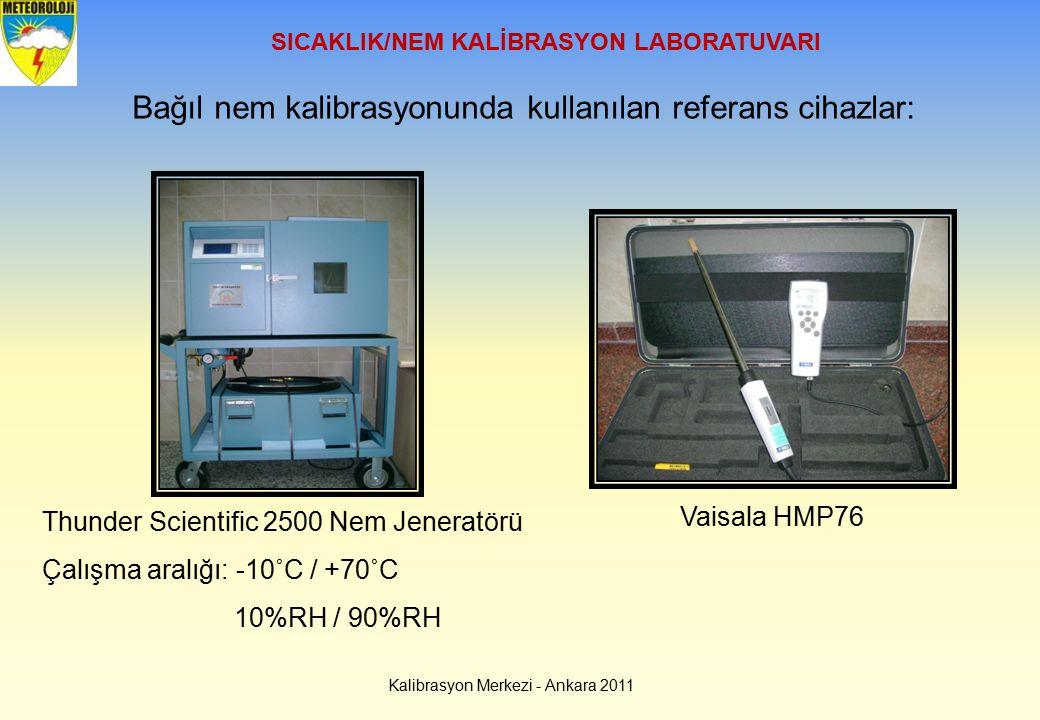 Bağıl nem kalibrasyonunda kullanılan referans cihazlar: Thunder Scientific 2500 Nem Jeneratörü Çalışma aralığı: -10˚C / +70˚C 10%RH / 90%RH SICAKLIK/N