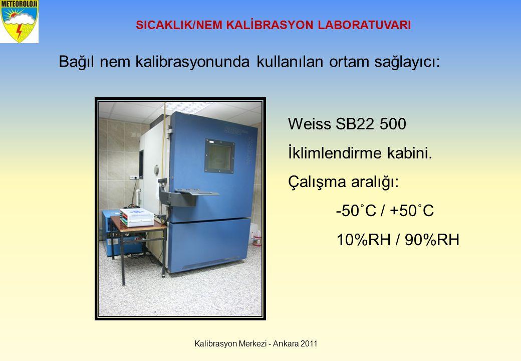 SICAKLIK/NEM KALİBRASYON LABORATUVARI Bağıl nem kalibrasyonunda kullanılan ortam sağlayıcı: Weiss SB22 500 İklimlendirme kabini. Çalışma aralığı: -50˚