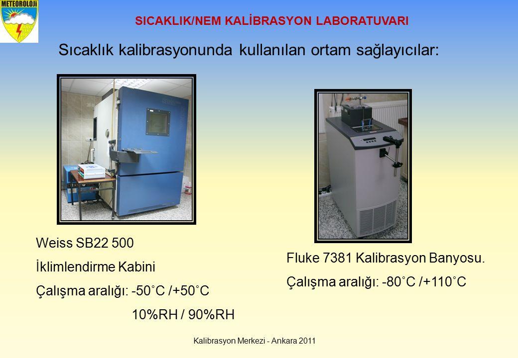 SICAKLIK/NEM KALİBRASYON LABORATUVARI Sıcaklık kalibrasyonunda kullanılan ortam sağlayıcılar: Weiss SB22 500 İklimlendirme Kabini Çalışma aralığı:-50˚