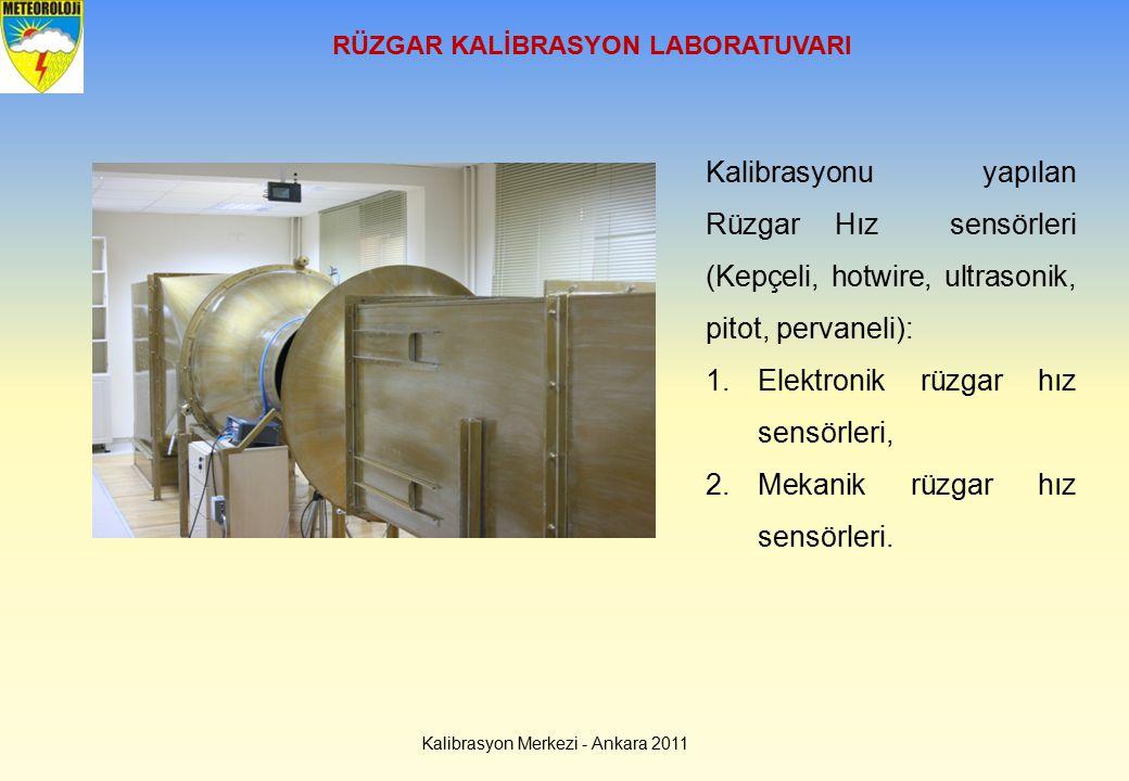 RÜZGAR KALİBRASYON LABORATUVARI Kalibrasyon Merkezi - Ankara 2011 Kalibrasyonu yapılan Rüzgar Hız sensörleri (Kepçeli, hotwire, ultrasonik, pitot, per
