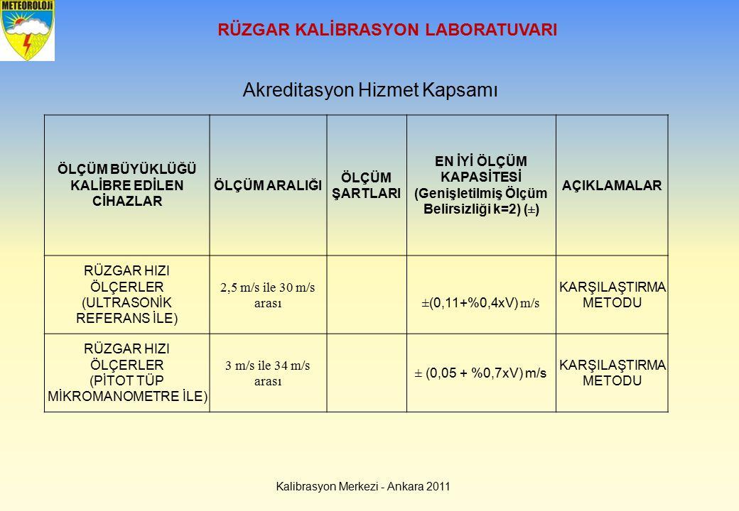 RÜZGAR KALİBRASYON LABORATUVARI Kalibrasyon Merkezi - Ankara 2011 Akreditasyon Hizmet Kapsamı ÖLÇÜM BÜYÜKLÜĞÜ KALİBRE EDİLEN CİHAZLAR ÖLÇÜM ARALIĞI ÖL