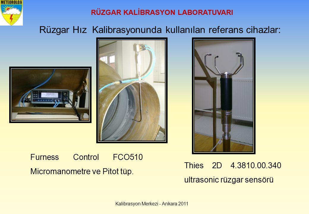 RÜZGAR KALİBRASYON LABORATUVARI Kalibrasyon Merkezi - Ankara 2011 Rüzgar Hız Kalibrasyonunda kullanılan referans cihazlar: Furness Control FCO510 Micr