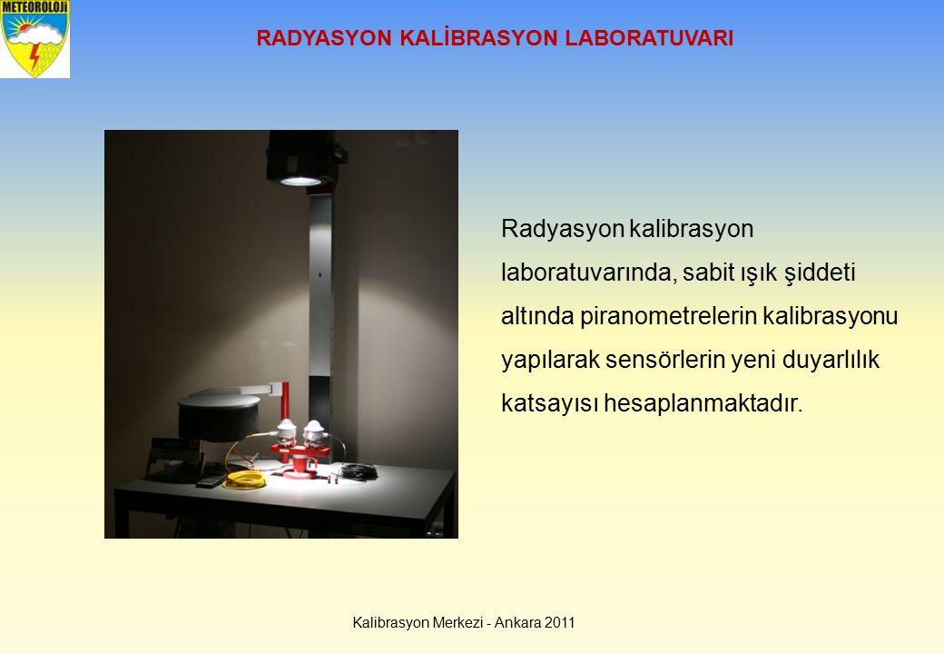 Kalibrasyon Merkezi - Ankara 2011 RADYASYON KALİBRASYON LABORATUVARI Radyasyon kalibrasyon laboratuvarında, sabit ışık şiddeti altında piranometreleri