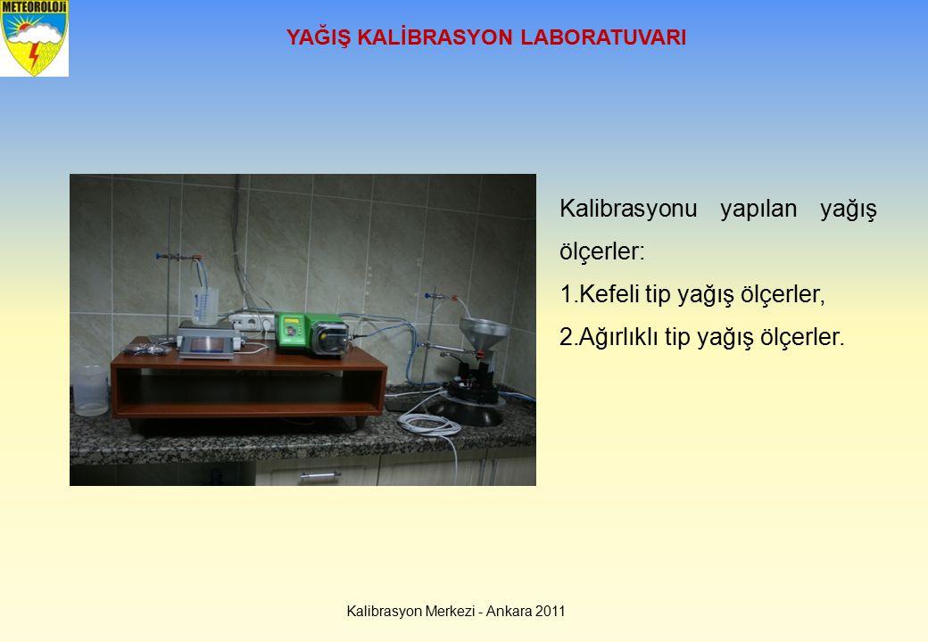 Kalibrasyon Merkezi - Ankara 2011 YAĞIŞ KALİBRASYON LABORATUVARI Kalibrasyonu yapılan yağış ölçerler: 1.Kefeli tip yağış ölçerler, 2.Ağırlıklı tip yağ